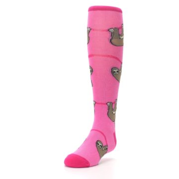 Image of Pink Sloth Kid's Knee High Socks (side-2-front-07)