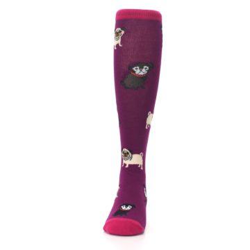 Image of Purple Pug Life Kid's Knee High Socks (front-05)