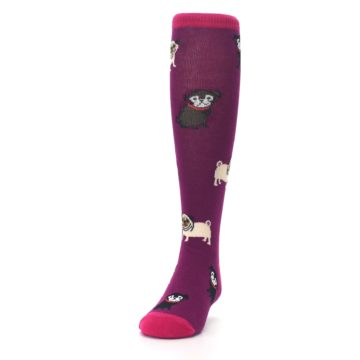 Image of Purple Pug Life Kid's Knee High Socks (side-2-front-06)