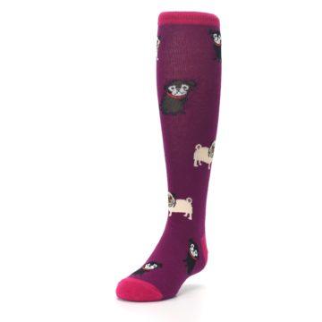 Image of Purple Pug Life Kid's Knee High Socks (side-2-front-07)