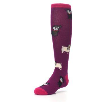 Image of Purple Pug Life Kid's Knee High Socks (side-2-front-08)
