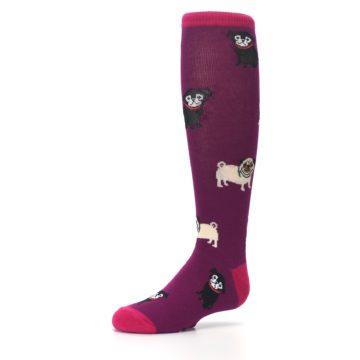 Image of Purple Pug Life Kid's Knee High Socks (side-2-09)