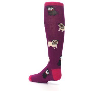 Image of Purple Pug Life Kid's Knee High Socks (side-2-back-14)