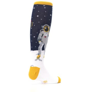 Image of Navy Moon Astronaut Kid's Knee High Socks (side-1-back-22)