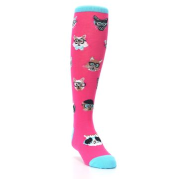 Image of Pink Smarty Cat Kid's Knee High Socks (side-1-front-02)