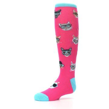 Image of Pink Smarty Cat Kid's Knee High Socks (side-2-09)