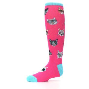 Image of Pink Smarty Cat Kid's Knee High Socks (side-2-10)