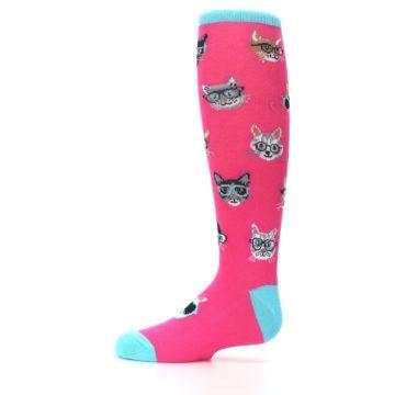 Image of Pink Smarty Cat Kid's Knee High Socks (side-2-11)