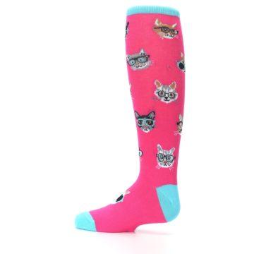 Image of Pink Smarty Cat Kid's Knee High Socks (side-2-12)