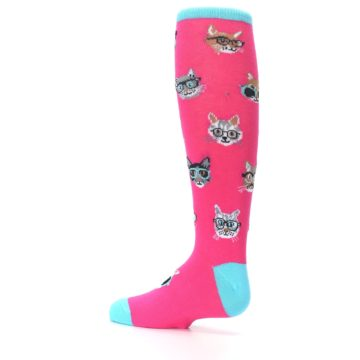 Image of Pink Smarty Cat Kid's Knee High Socks (side-2-13)