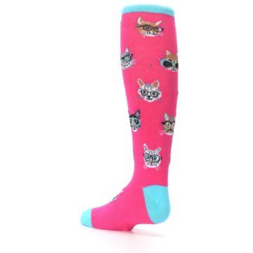 Image of Pink Smarty Cat Kid's Knee High Socks (side-2-back-14)