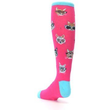 Image of Pink Smarty Cat Kid's Knee High Socks (side-2-back-15)
