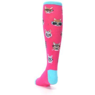 Image of Pink Smarty Cat Kid's Knee High Socks (side-2-back-16)