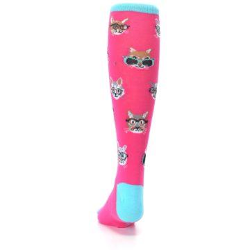 Image of Pink Smarty Cat Kid's Knee High Socks (back-17)