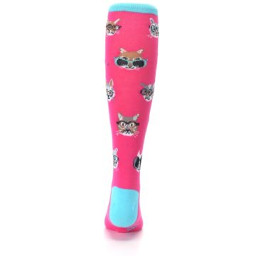 Image of Pink Smarty Cat Kid's Knee High Socks (back-18)