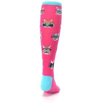 Image of Pink Smarty Cat Kid's Knee High Socks (back-19)