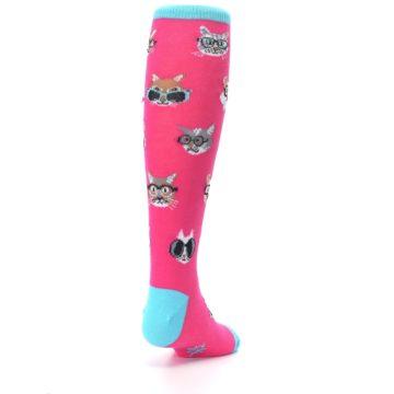 Image of Pink Smarty Cat Kid's Knee High Socks (side-1-back-20)
