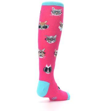 Image of Pink Smarty Cat Kid's Knee High Socks (side-1-back-21)