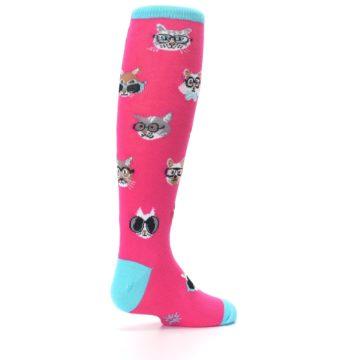 Image of Pink Smarty Cat Kid's Knee High Socks (side-1-back-22)