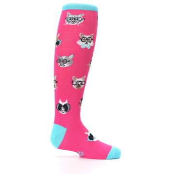 Image of Pink Smarty Cat Kid's Knee High Socks (side-1-24)