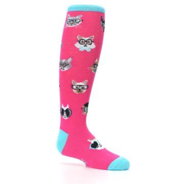 Image of Pink Smarty Cat Kid's Knee High Socks (side-1-25)