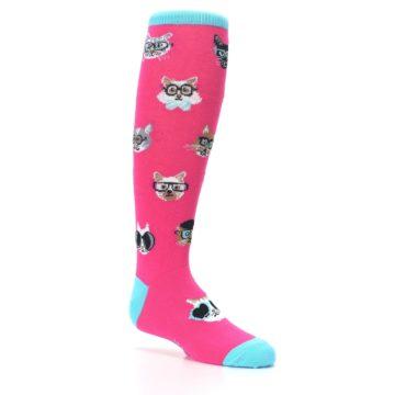 Image of Pink Smarty Cat Kid's Knee High Socks (side-1-26)