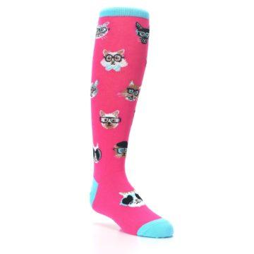 Image of Pink Smarty Cat Kid's Knee High Socks (side-1-27)