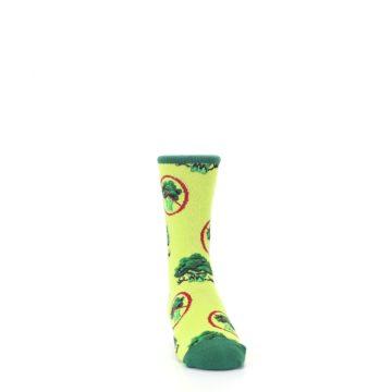 Image of Green Broccoli Monster Kid's Dress Socks (side-1-front-03)