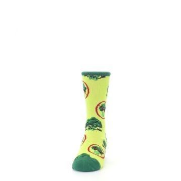 Image of Green Broccoli Monster Kid's Dress Socks (front-05)