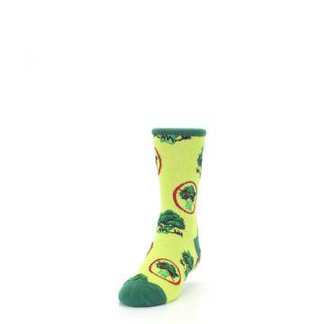 Image of Green Broccoli Monster Kid's Dress Socks (side-2-front-06)