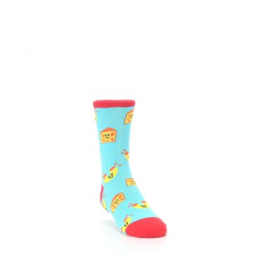 Image of Blue Yellow Mac and Cheese Kid's Dress Socks (side-1-front-02)