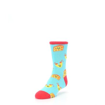 Image of Blue Yellow Mac and Cheese Kid's Dress Socks (side-2-front-07)