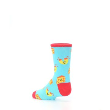 Image of Blue Yellow Mac and Cheese Kid's Dress Socks (side-2-back-14)