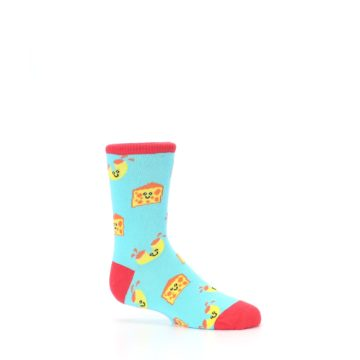 Image of Blue Yellow Mac and Cheese Kid's Dress Socks (side-1-25)
