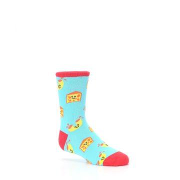 Image of Blue Yellow Mac and Cheese Kid's Dress Socks (side-1-26)