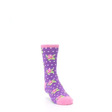 Image of Purple Pink Rosebud Flowers Kid's Dress Socks (side-1-front-02)