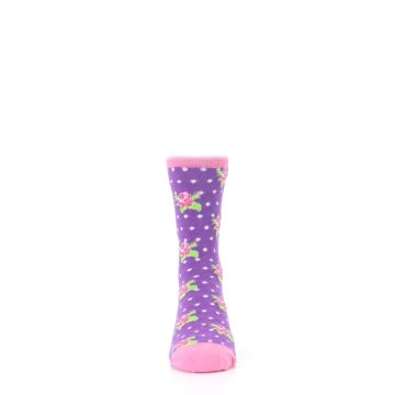 Image of Purple Pink Rosebud Flowers Kid's Dress Socks (front-04)