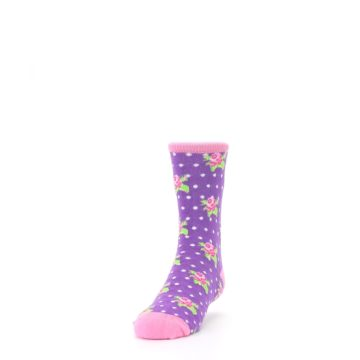 Image of Purple Pink Rosebud Flowers Kid's Dress Socks (side-2-front-06)