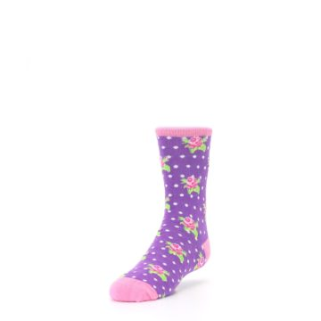 Image of Purple Pink Rosebud Flowers Kid's Dress Socks (side-2-front-07)