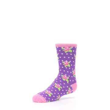Image of Purple Pink Rosebud Flowers Kid's Dress Socks (side-2-09)