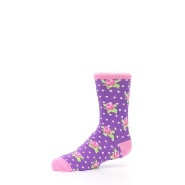 Image of Purple Pink Rosebud Flowers Kid's Dress Socks (side-2-10)