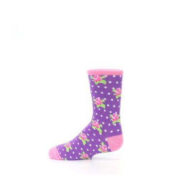 Image of Purple Pink Rosebud Flowers Kid's Dress Socks (side-2-12)