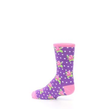 Image of Purple Pink Rosebud Flowers Kid's Dress Socks (side-2-13)