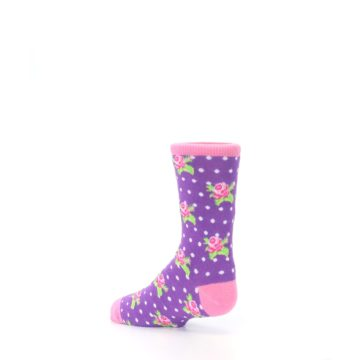 Image of Purple Pink Rosebud Flowers Kid's Dress Socks (side-2-back-14)