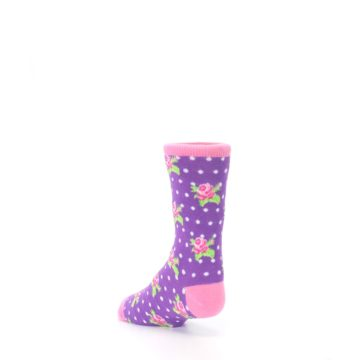 Image of Purple Pink Rosebud Flowers Kid's Dress Socks (side-2-back-15)