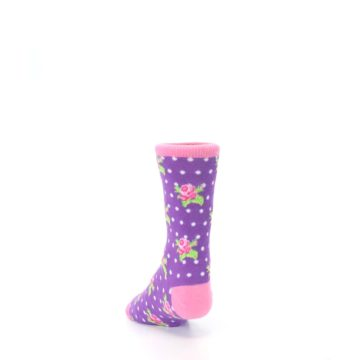 Image of Purple Pink Rosebud Flowers Kid's Dress Socks (side-2-back-16)