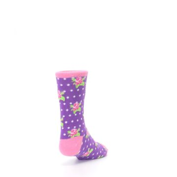 Image of Purple Pink Rosebud Flowers Kid's Dress Socks (side-1-back-20)