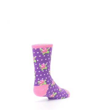Image of Purple Pink Rosebud Flowers Kid's Dress Socks (side-1-back-21)