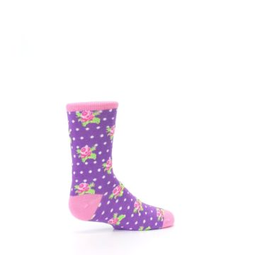 Image of Purple Pink Rosebud Flowers Kid's Dress Socks (side-1-23)