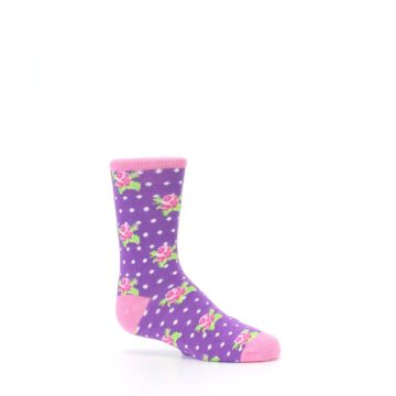 Image of Purple Pink Rosebud Flowers Kid's Dress Socks (side-1-25)
